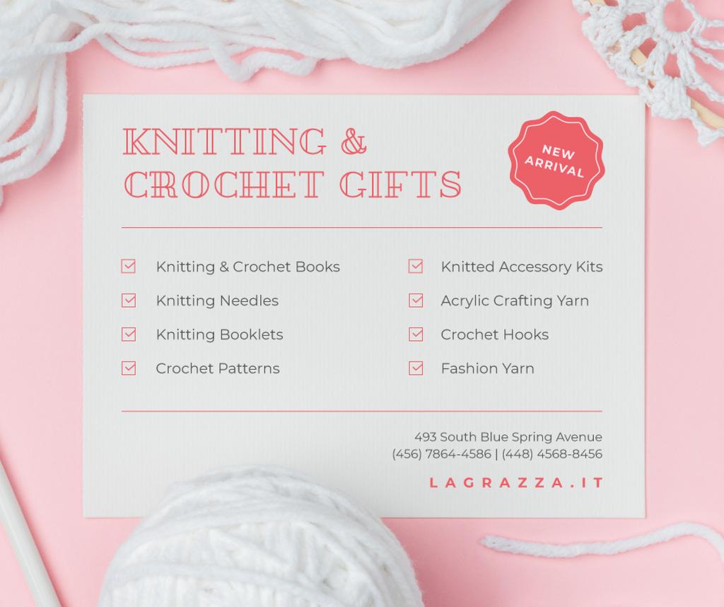 Ontwerpsjabloon van Facebook van Knitting and Crochet Store in White and Pink