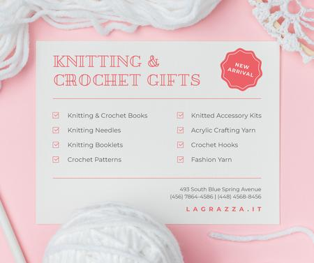 Ontwerpsjabloon van Facebook van Knitting and Crochet Store in White and Pink
