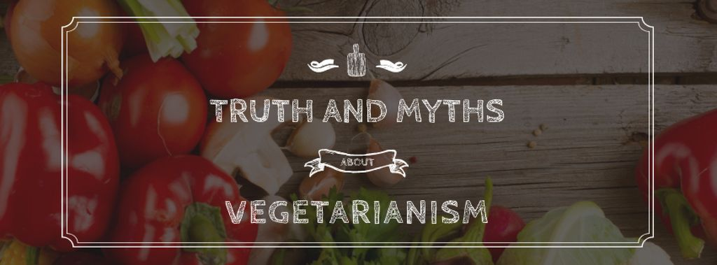 Truth and myths about Vegetarianism Facebook cover Modelo de Design