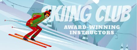 Plantilla de diseño de Skier Riding on a Snowy Slope Facebook Video cover