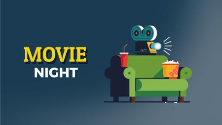 Movie Night Invitation Vintage Film Projector Full HD video Modelo de Design