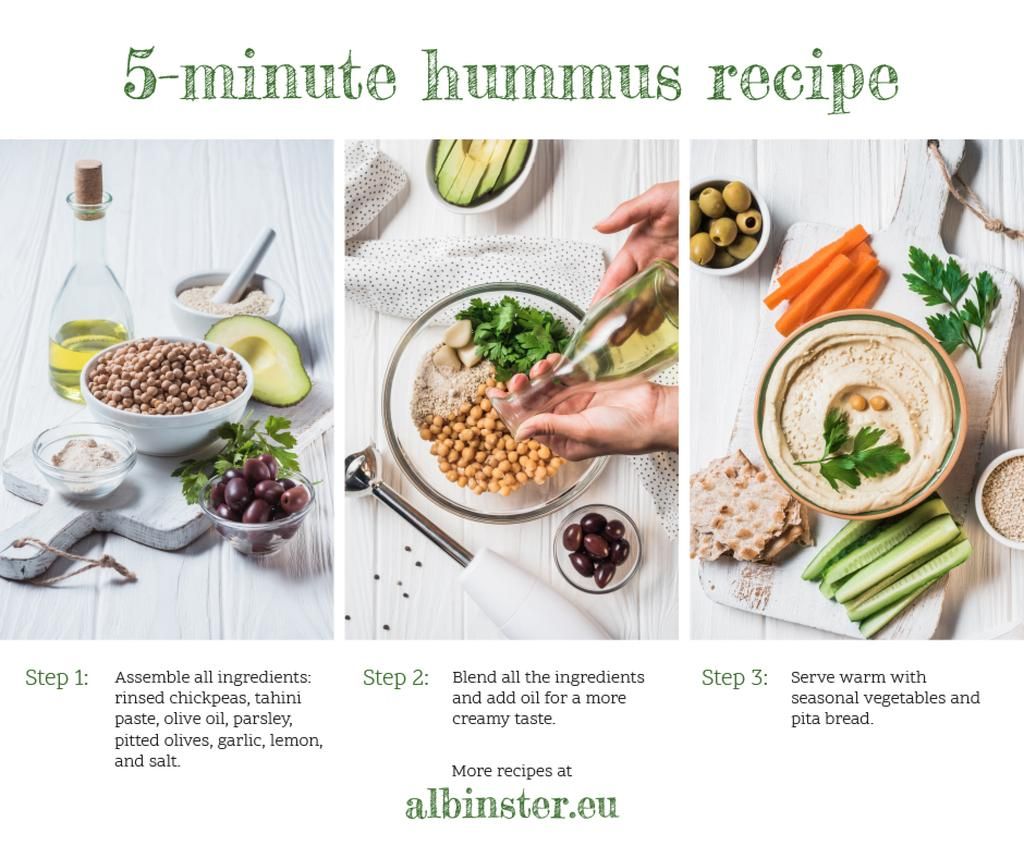 Hummus Recipe Fresh Cooking Ingredients — Maak een ontwerp