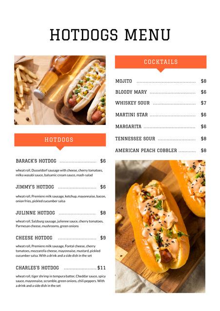 Ontwerpsjabloon van Menu van Delicious Hotdogs variety
