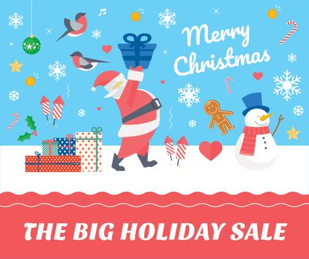 Plantilla de diseño de Christmas Holiday greeting Santa delivering Gifts Facebook