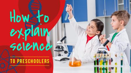 Science Education Kids in Laboratory Youtube Thumbnail Design Template