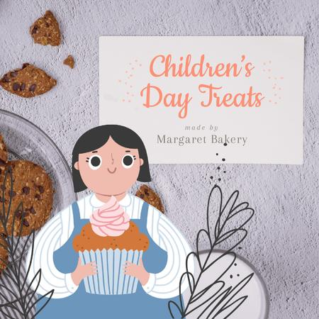 Cute Girl holding Cupcake on Children's Day Animated Post Design Template