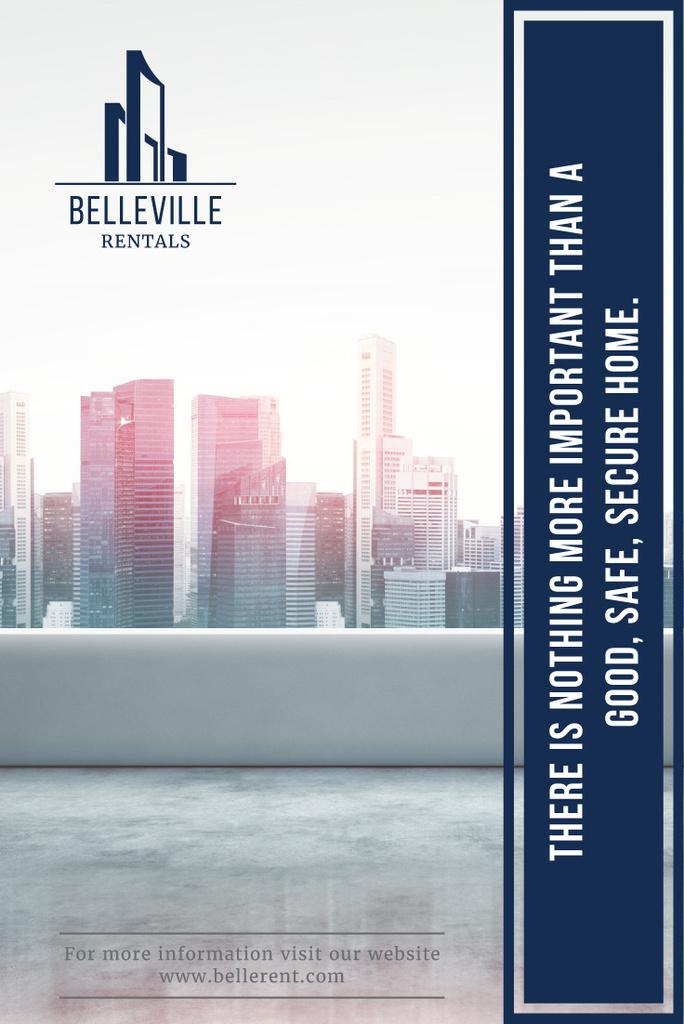 Real Estate Advertisement Modern City Skyscrapers   Pinterest Template — Modelo de projeto