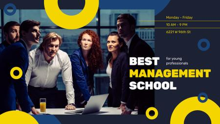 Plantilla de diseño de Management Courses Ad Businesspeople working in Office FB event cover