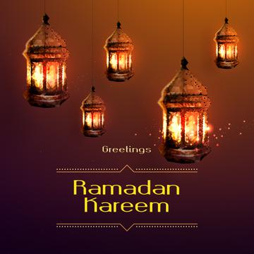Ramadan Kareem Greeting Golden Lanterns | Instagram Post Template