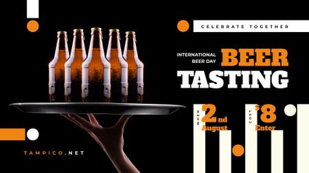 Beer Day Tasting Bottles on Tray FB event cover Modelo de Design