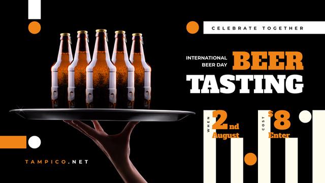 Beer Day Tasting Bottles on Tray FB event cover Modelo de Design