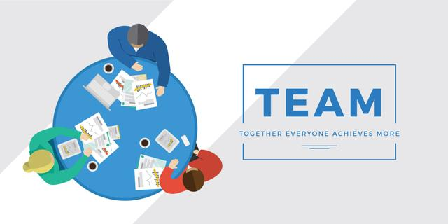 Template di design Business people working together at table Twitter