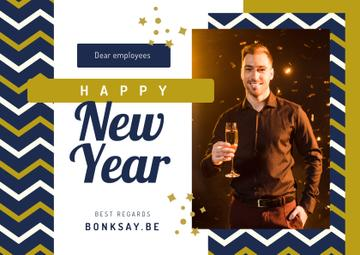 New Year Greeting Man with Champagne | Postcard Template