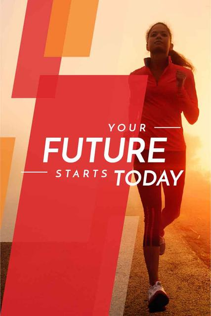 Inspirational quote with running young woman Pinterest Modelo de Design