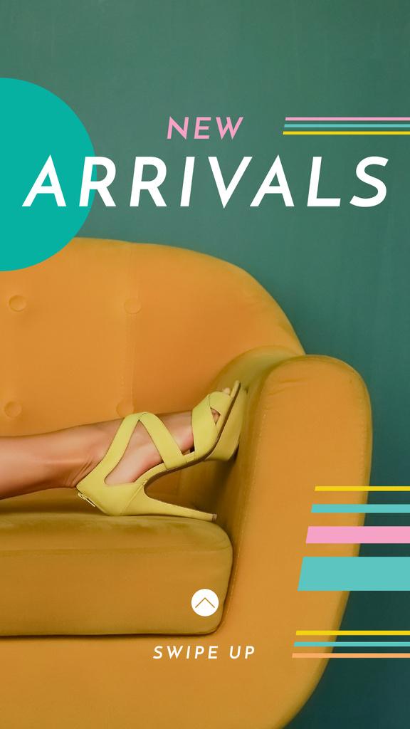 Shop Ad with Female Legs on Yellow Sofa Instagram Story – шаблон для дизайна
