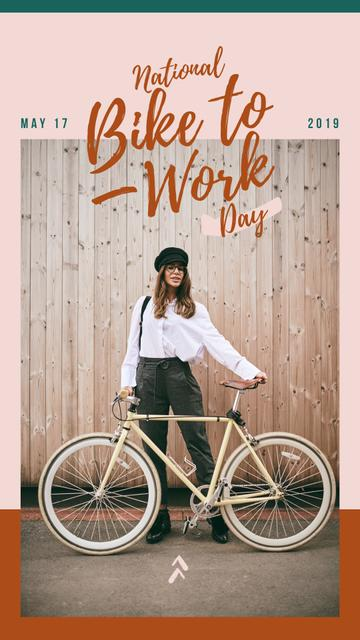 Bike to Work Day Girl with bicycle in city Instagram Story – шаблон для дизайну