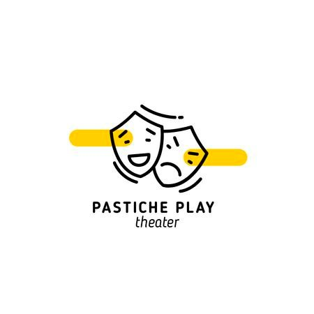Play Announcement with Theatrical Masks Logo Tasarım Şablonu