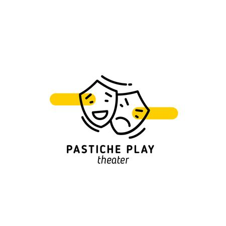 Plantilla de diseño de Play Announcement with Theatrical Masks Logo