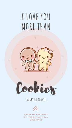 Ontwerpsjabloon van Instagram Story van Valentine's Day Card with Cute gingerbread cookies