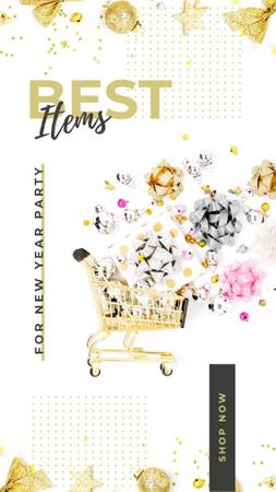 Modèle de visuel Shopping cart and bows for party - Instagram Story