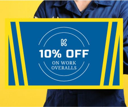 Work overalls sale advertisement Large Rectangle Design Template