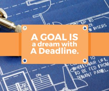Goal Motivational Quote Blueprints and Compass | Large Rectangle Template