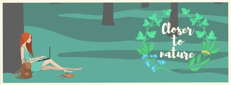 Plantilla de diseño de Girl working on laptop in park Facebook Video cover