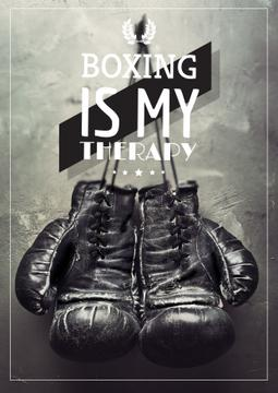 Sport Quote Boxing Gloves on Wall | Poster Template