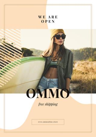 Template di design Woman with surfboard at the beach Poster