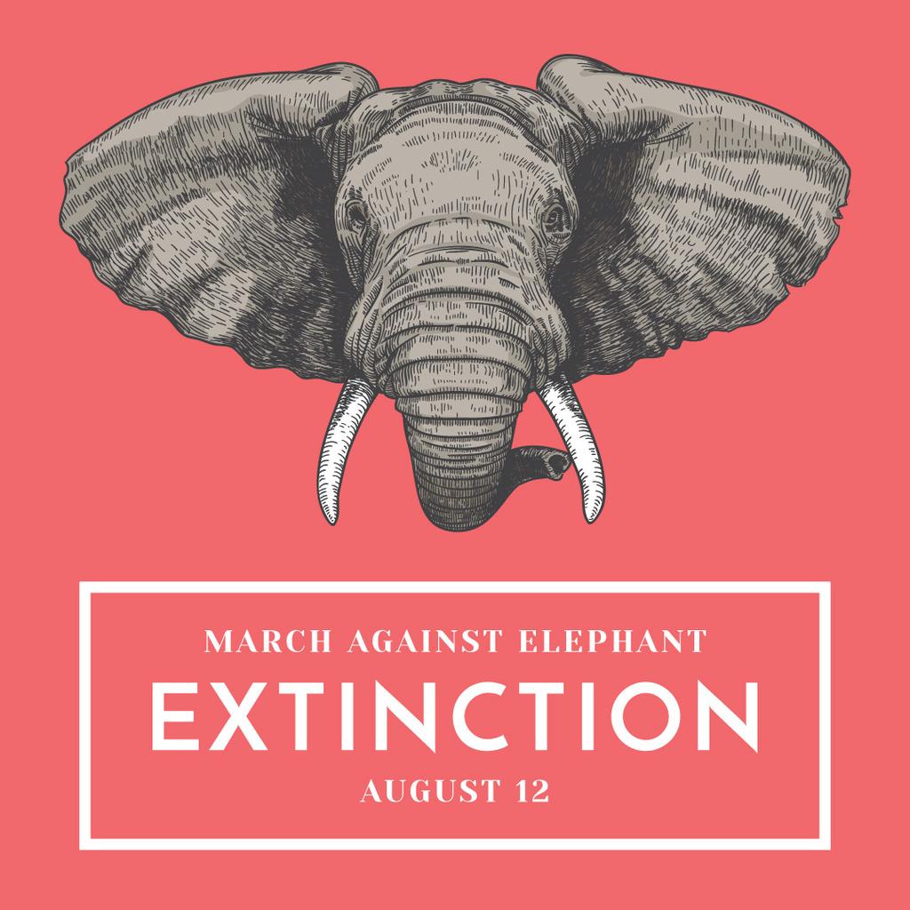 march against elephant extinction banner — Створити дизайн