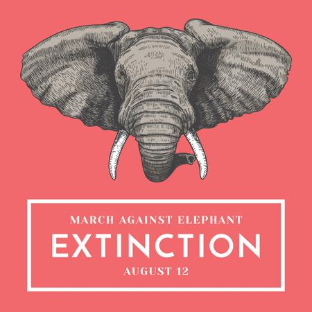 Animal Protection march announcement with Elephant Instagram AD – шаблон для дизайну