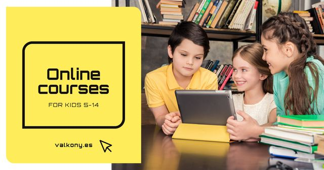 Online Courses Ad Kids with Tablet Facebook AD Modelo de Design