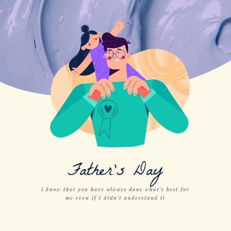 Dad Playing with Daughter on Father's Day  Animated Post Modelo de Design
