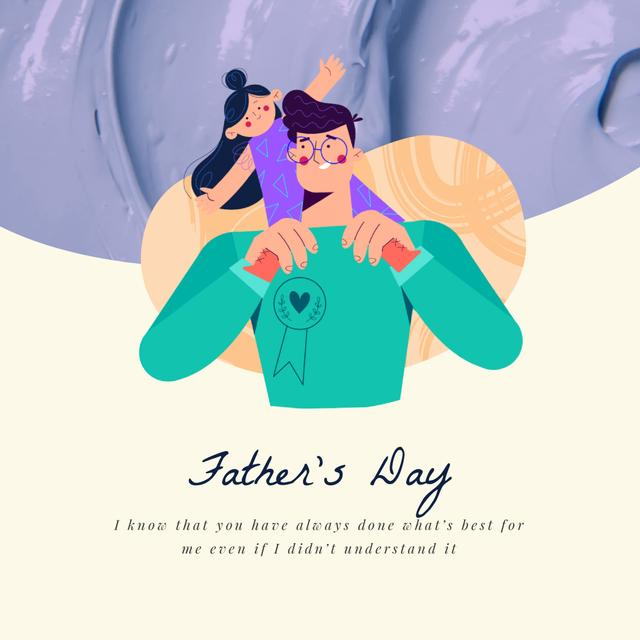 Ontwerpsjabloon van Animated Post van Dad Playing with Daughter on Father's Day