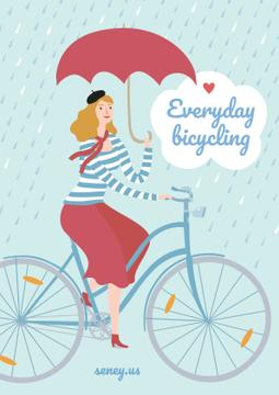 Illustration of Woman on bike in Rainy Day