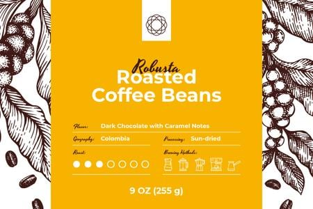 Template di design Roasted Beans pattern Label