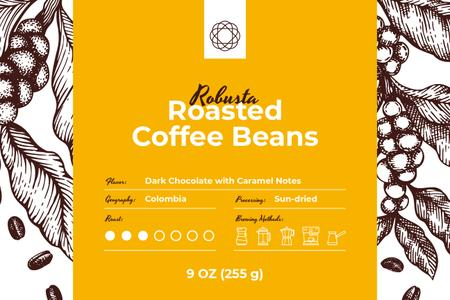 Modèle de visuel Roasted Beans pattern - Label