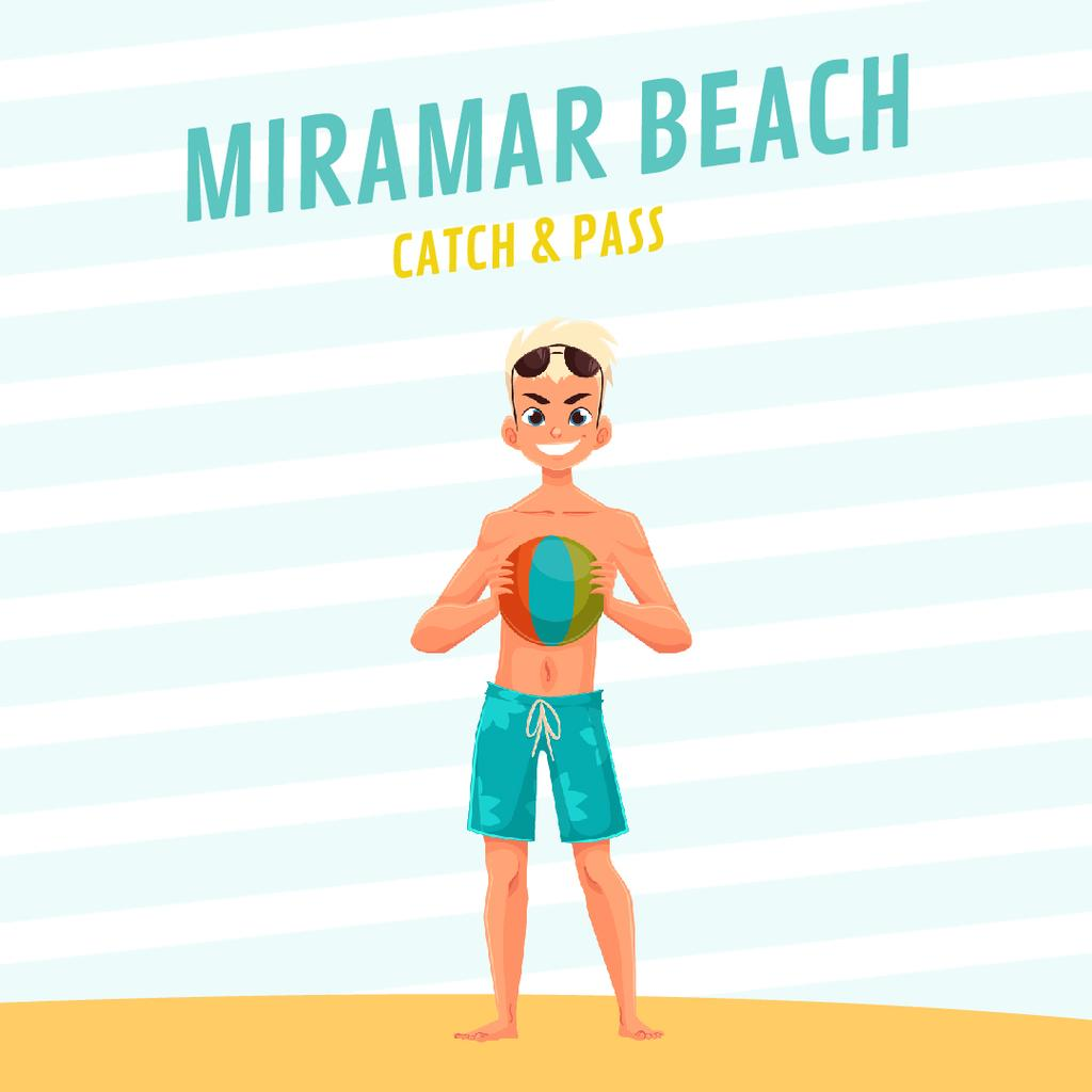Beach Volleyball Invitation with Man with Ball  — Créer un visuel