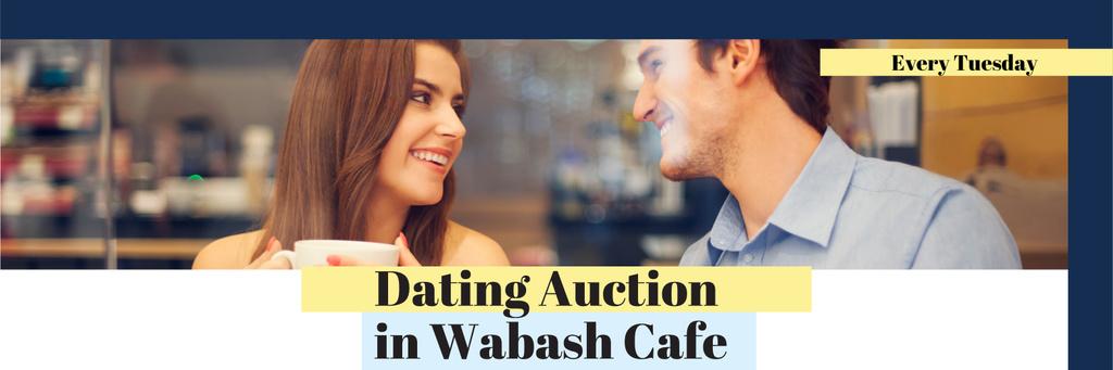 Plantilla de diseño de Dating Auction in Wabash Cafe Twitter
