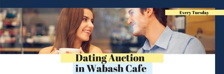 Plantilla de diseño de Dating Auction in Wabash Cafe Twitter