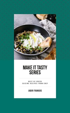 Szablon projektu Easy Recipe Tasty Dish with Bread and Sauce Book Cover