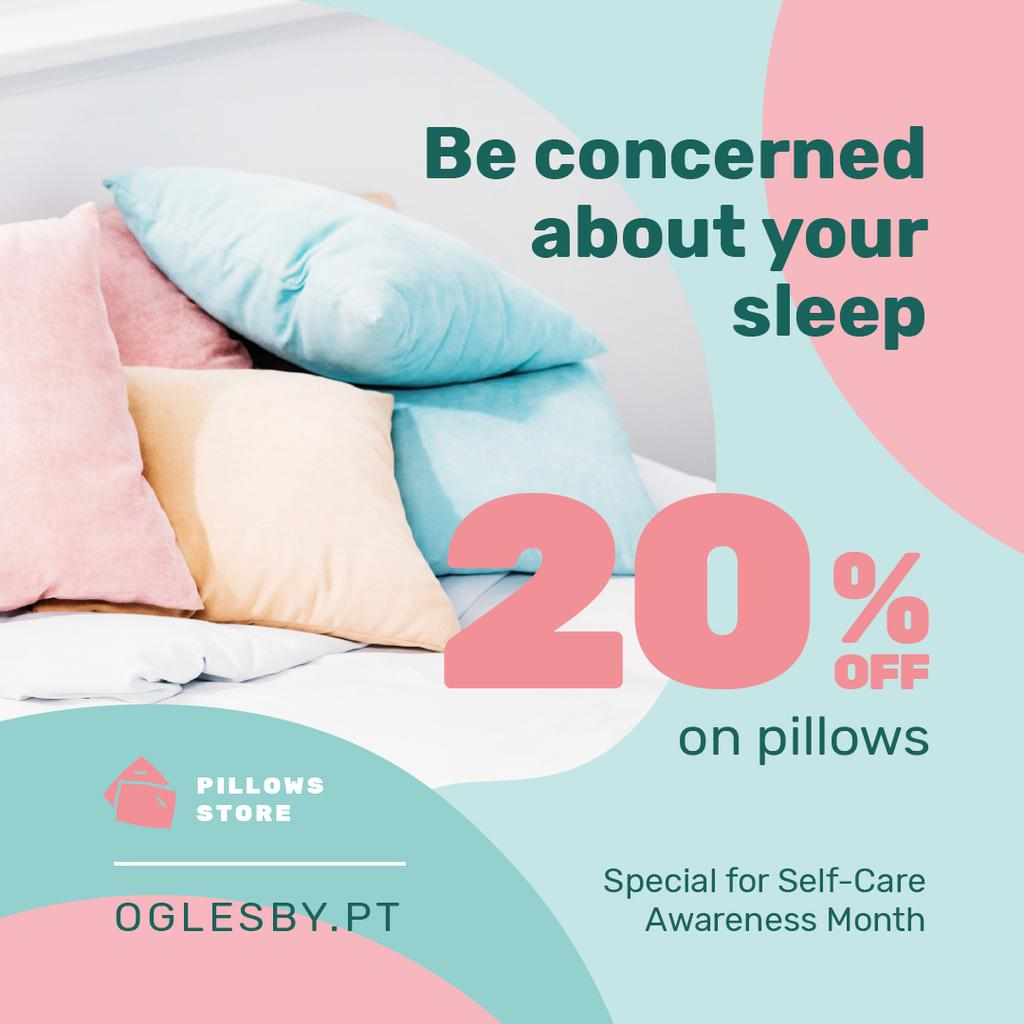 Self-Care Awareness Month Textile Offer Pillows on Sofa | Instagram Post Template — Створити дизайн