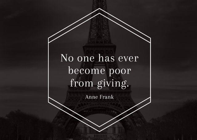 Modèle de visuel Charity Quote on Eiffel Tower view - Postcard