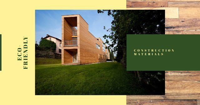 Plantilla de diseño de Eco-Friendly Construction Wooden House Facade Facebook AD