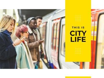City Life People with Gadgets in Subway | Presentation Template