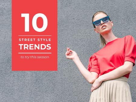 Ontwerpsjabloon van Presentation van Street style trends with Stylish Woman