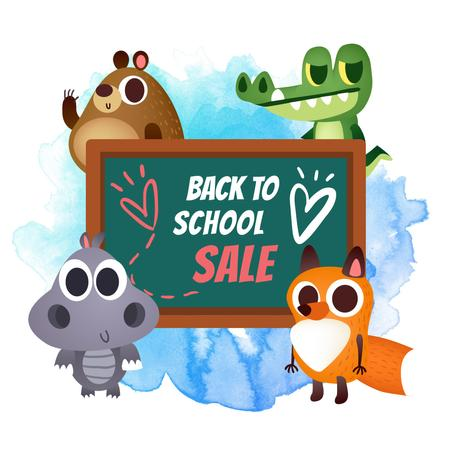 Funny animals by chalkboard for Back to School sale Instagram ADデザインテンプレート