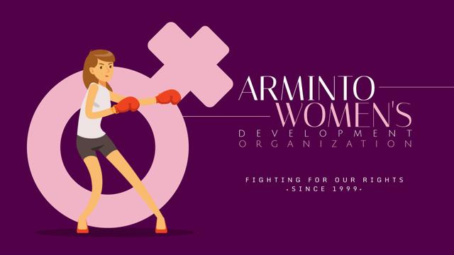 Emancipation Concept Woman in Boxing Gloves Full HD video Modelo de Design