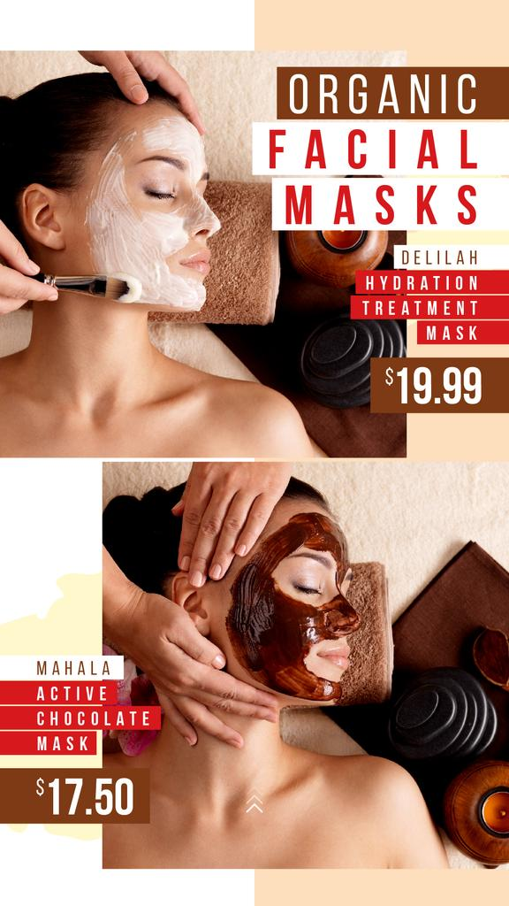Beauty Salon Ad with Woman in Face Mask | Stories Template — Maak een ontwerp