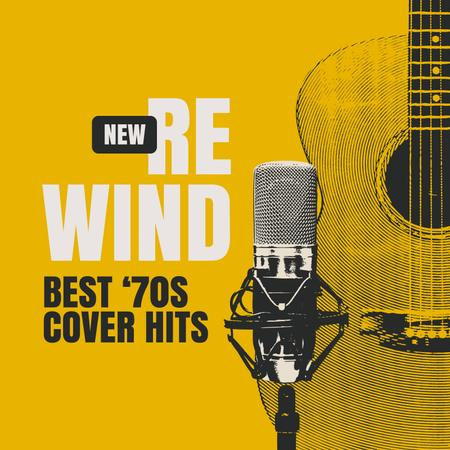 Plantilla de diseño de Retro Microphone and Guitar in yellow Album Cover